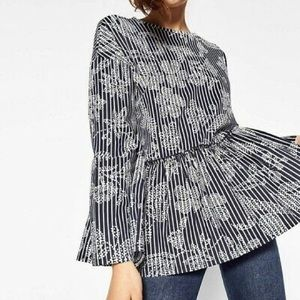 {Zara} Contrast Striped Floral Peplum Top